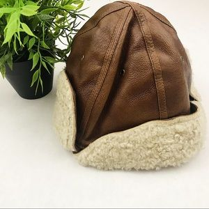 VINTAGE Wilson's Leather Sherpa leather pilot hat